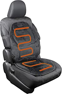 HealthMate IN9438 Velour 12V Heated Seat Cushion with Lumbar Support, Heating with Easy Controller, Color Black, Products by Wagan
