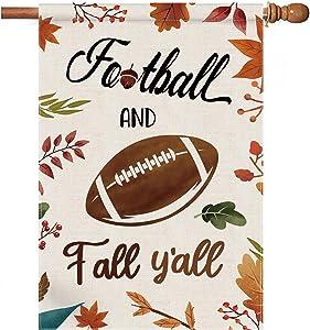 pinata Fall Garden Flag Large Football and Fall Y'all Outdoor Fall Decor House Flags 28 x 40 Double Sided Yard Flag Burlap Football Flag Funny Autumn Flag Leaves Porch House Decor