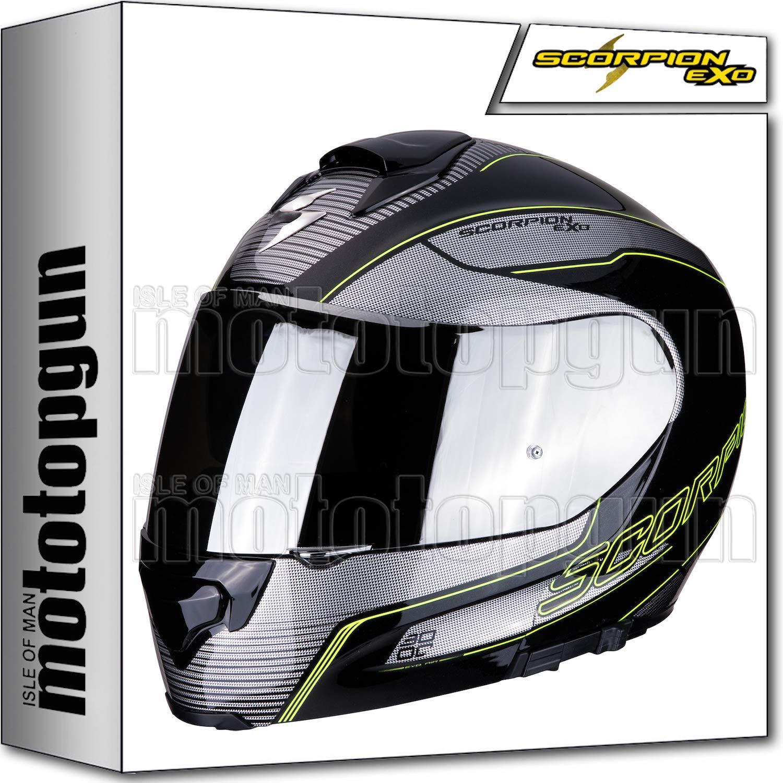MOTOTOPGUN SCORPION CASQUE MODULABLE EXO-3000 AIR STROLL NOIR-ARGENT-NEON JAUNE SZ XXL