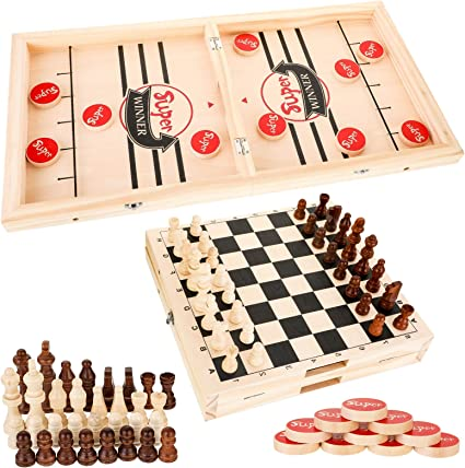 LARGE FOLDING WOODEN CHESS SET BOARD GAME TOY