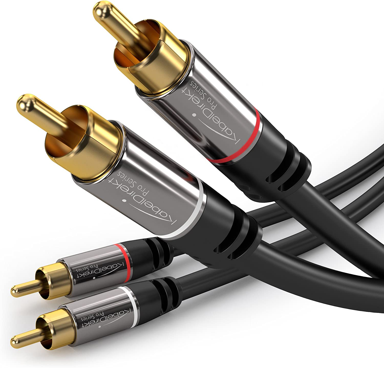 RCA Stereo Audio Cable Dual RCA Male 2 Channel Gold-Plated Connectors 25 Feet 2 Pack Right and Left