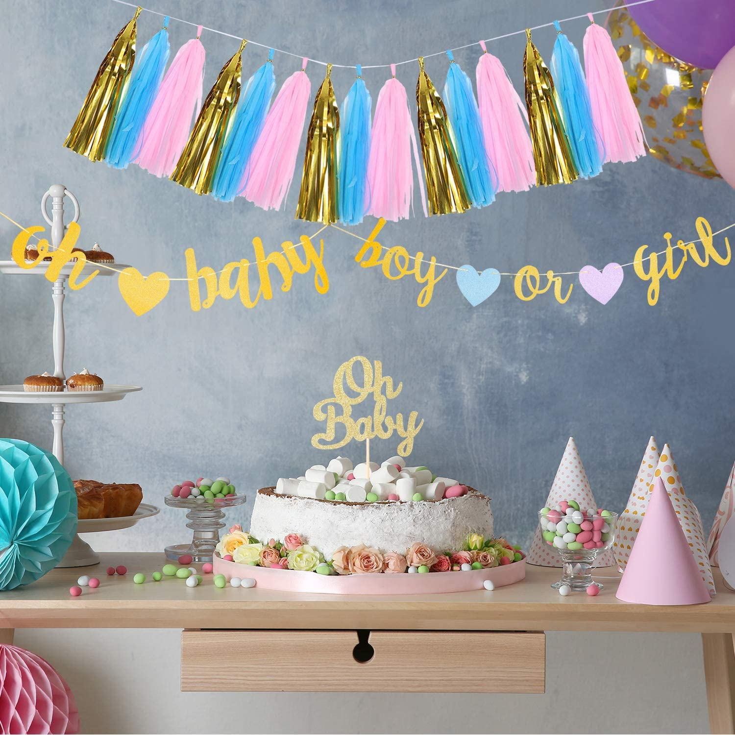 Gender Reveal Party Decorations Boy or Girl Banner Tassels Garland Cake Topper Gold Glitter Baby Banners with Hearts Banner for Baby Shower Party Decorations