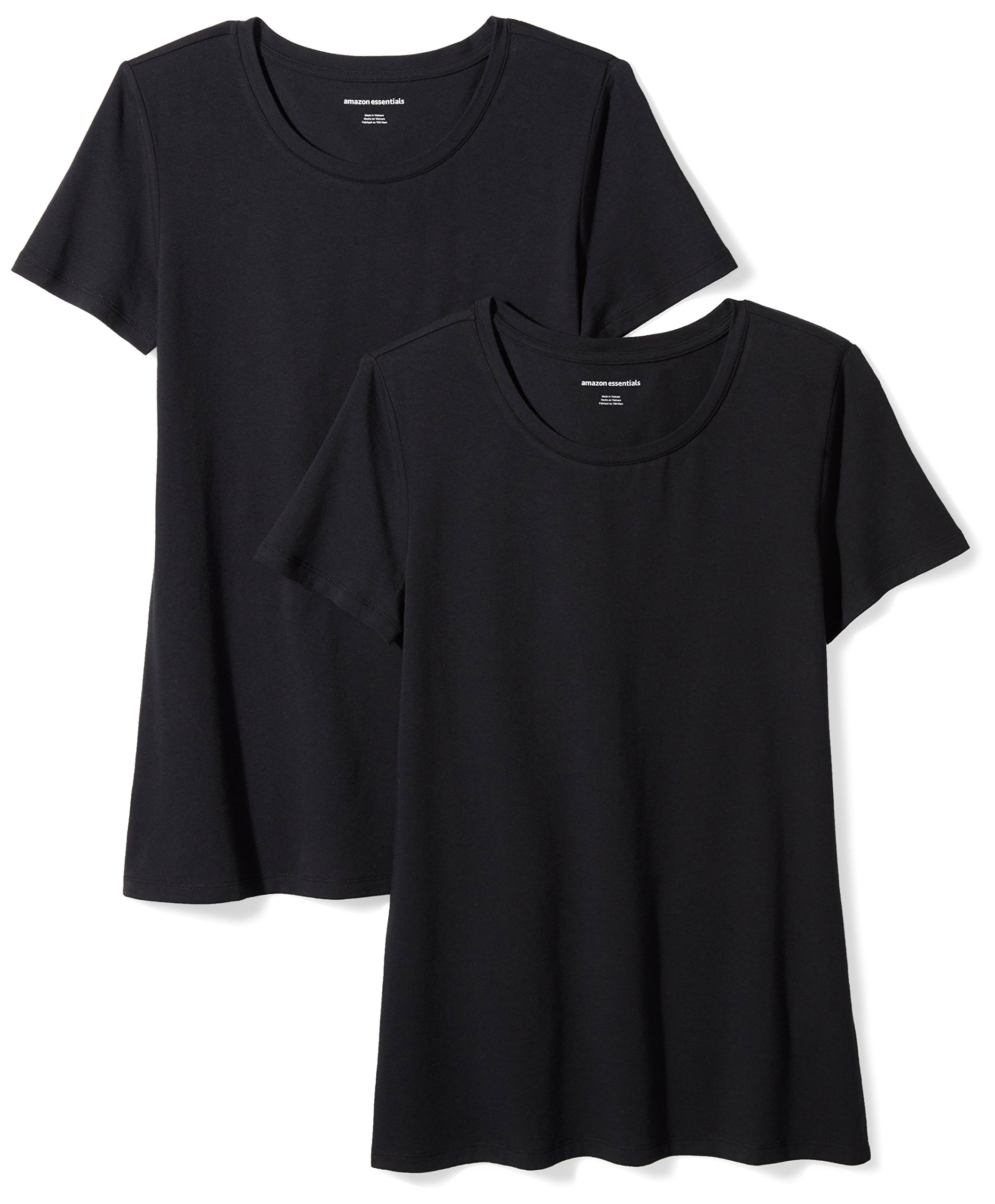 Amazon Essentials Women's 2-Pack Short-Sleeve Crewneck Solid T-Shirt, Black, X-Large
