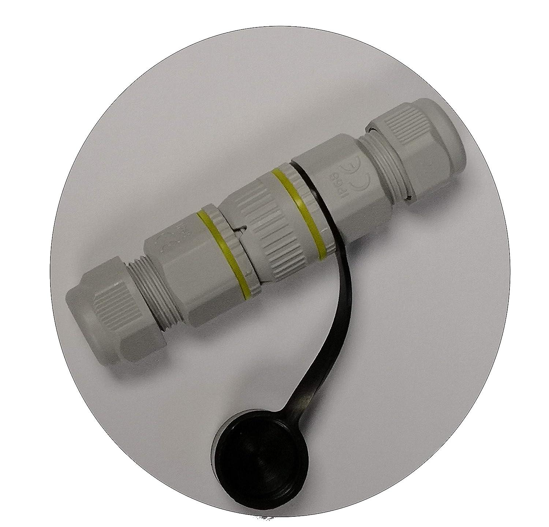 codiert Buchse Stecker 5-polig Outdoor-Steckverbindung IP68 mit Silikon-Schutzkappe f/ür Steckerseite bis 12mm Kabeldurchmesser