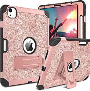 """BENTOBEN Compatible with New iPad Air 4 Case 2020 10.9 inch, Glitter Sparkly 3 Layers Shockproof Kickstand with Pencil Holder Protective Tablet Cover for iPad Air 4th Generation 10.9"""" 2020, Rose Gold"""