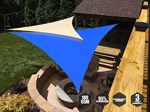 Convenience Commercial Standard Heavy Duty Equilateral Triangle 17 X 17 X 17 Blue Canopy Mesh Fabric UV Block 3 Year Warranty Customized