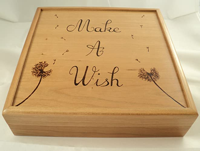 Amazoncom Cherry Wood Wooden Woodburned Dandelion and Dandelion