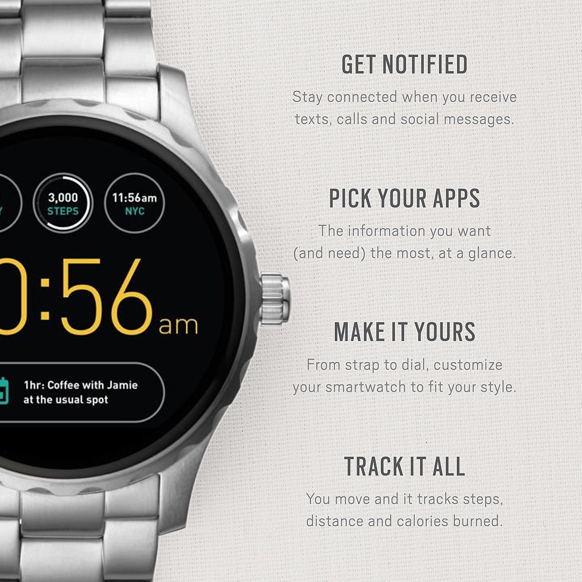 4ee0991bc8a9 Fossil Q Herren-Smartwatch FTW2109  Amazon.de  Uhren