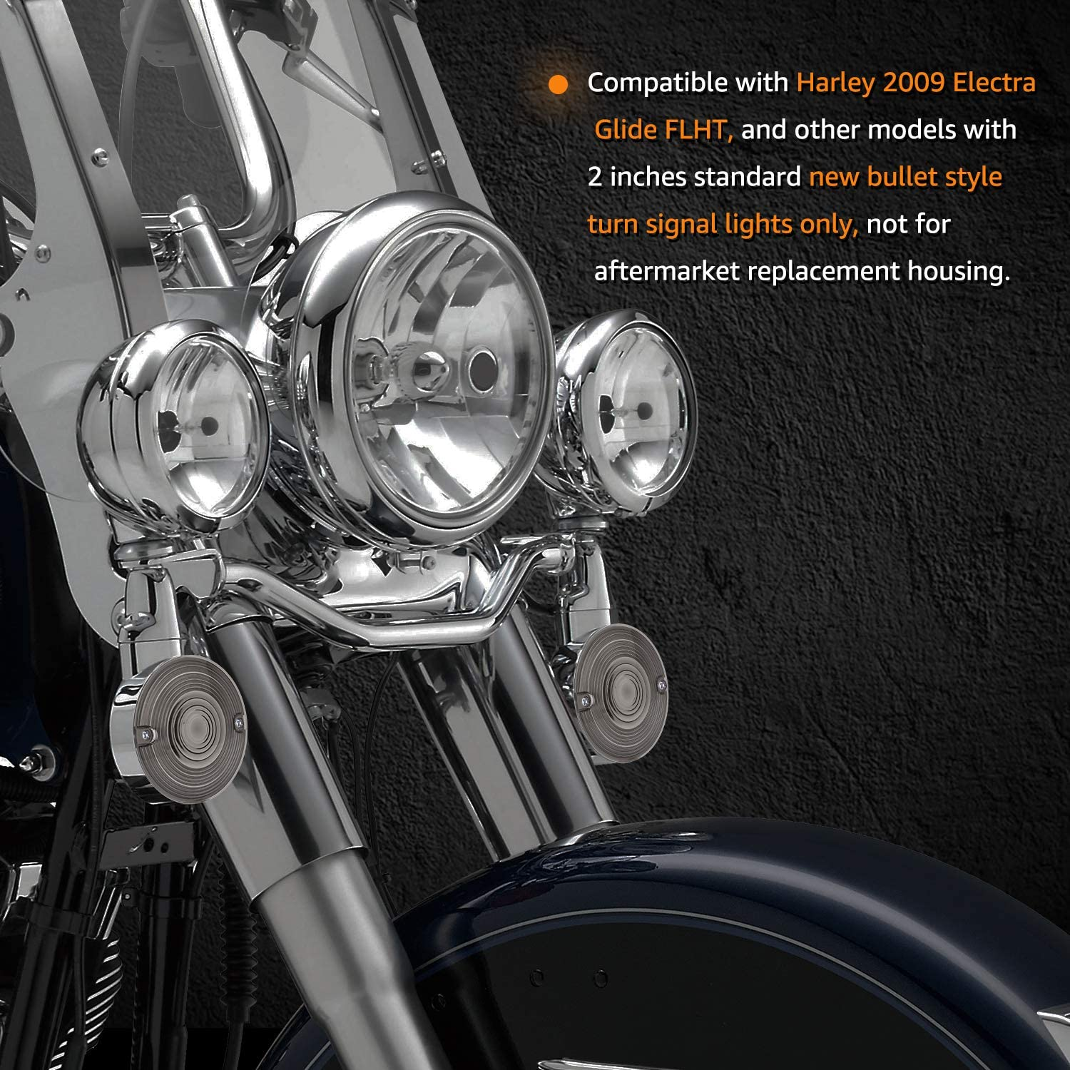 NTHREEAUTO 3 1//4 Inch Flat Smoked LED Turn Signal Lens Cover Compatible with Harley Electra Glides Road King Touring Road Glide Heritage