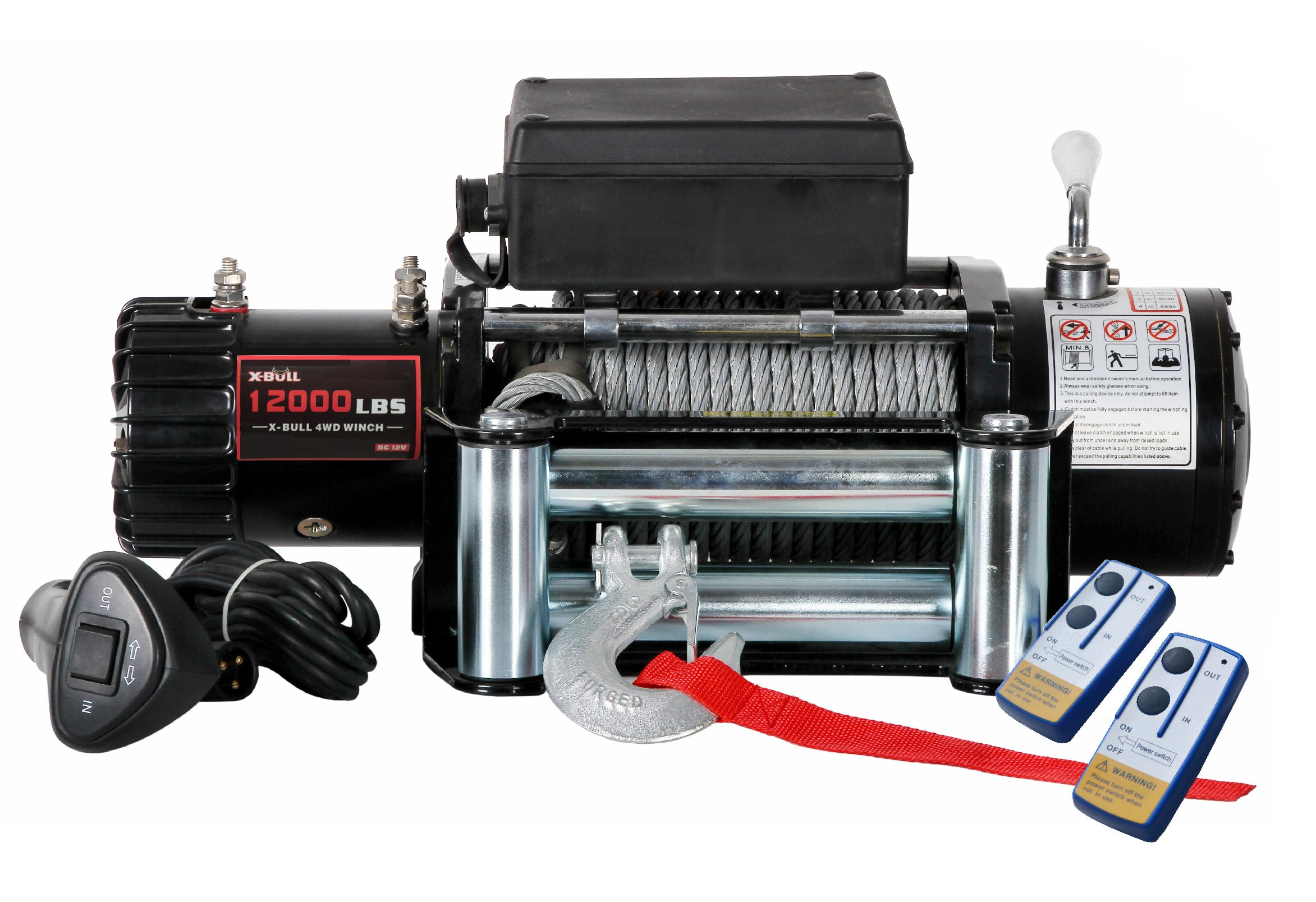 X-BULL 12V Steel Cable Electric Winch 12000 lb Load Capacity by X-BULL