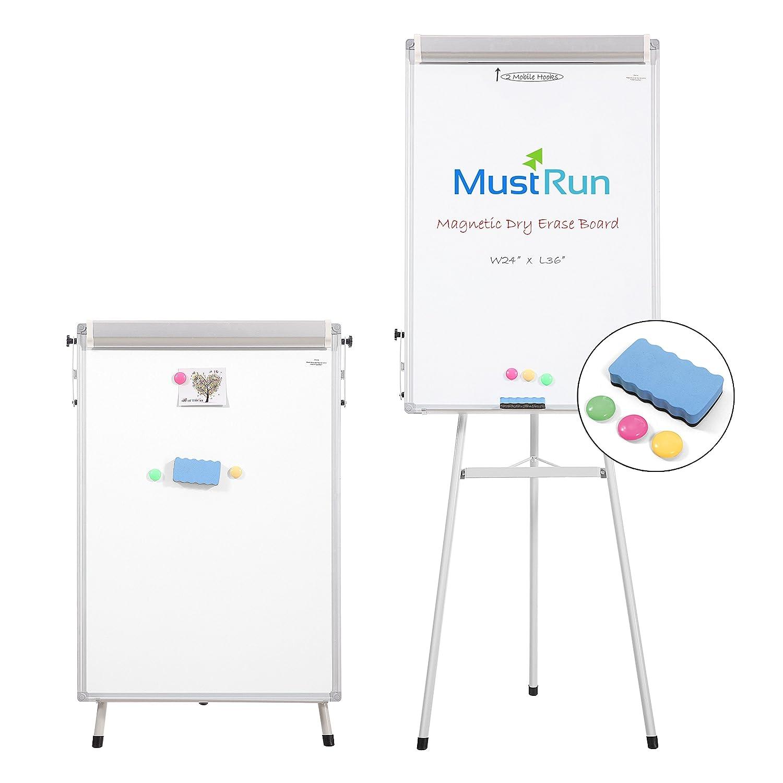 """MustRun 24""""x36""""-Tripod Whiteboard,Magnetic Dry Erase Board/ Flipchart Easel Whiteboard"""