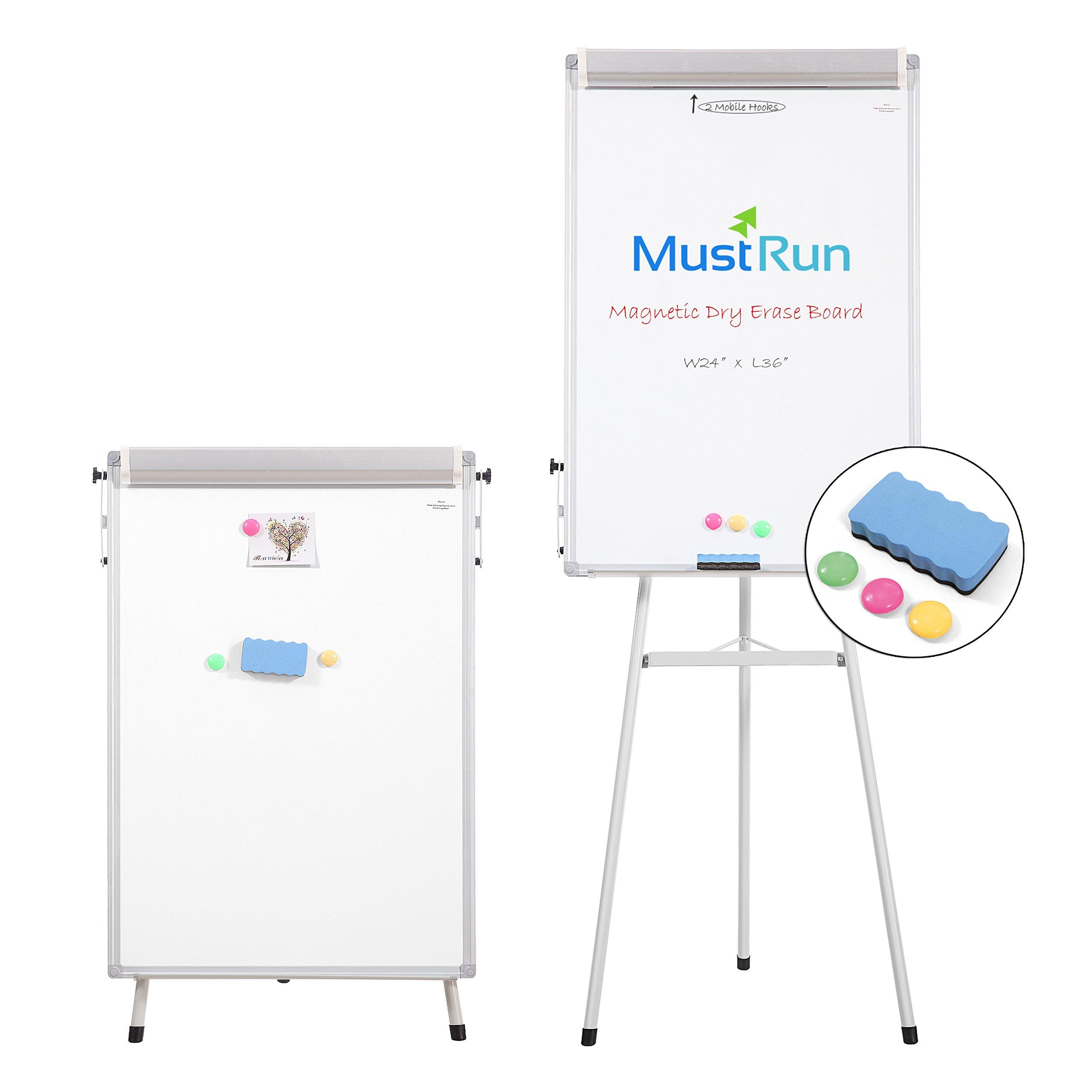 MustRun 24''x36''-Tripod Whiteboard,Magnetic Dry Erase Board/ Flipchart Easel Whiteboard