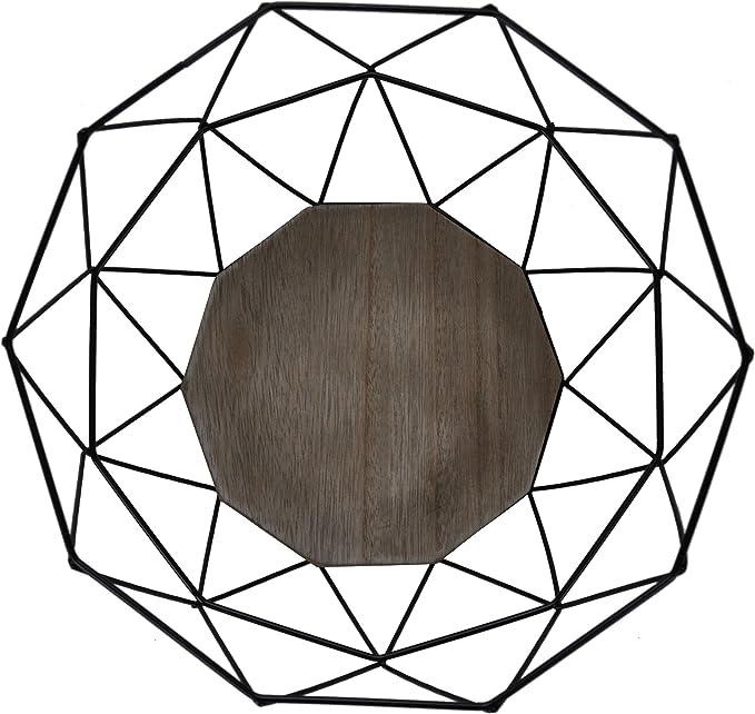 Color Negro Frutero de Metal con Base de Madera de Bamb/ú