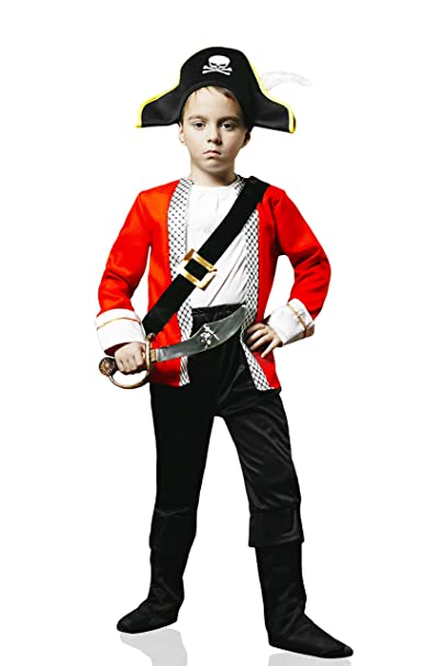 Kids Boys Pirate Captain Halloween Costume Royal Buccaneer Dress Up & Role Play (6-8 years, black, white, red)