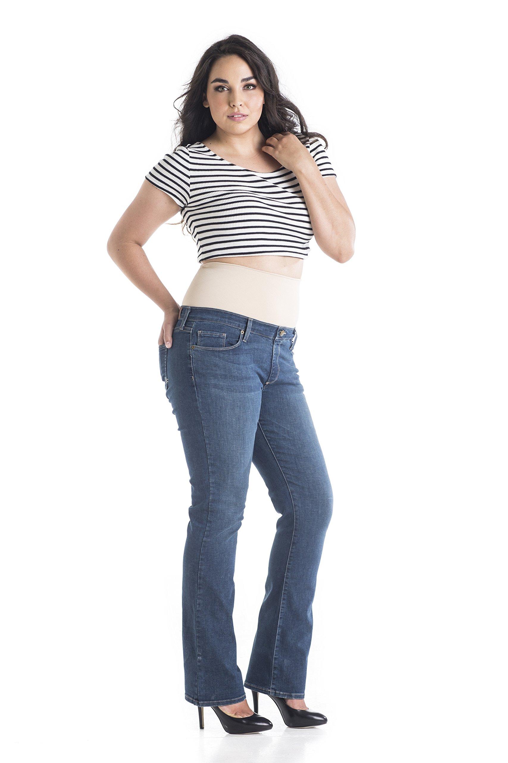 Tummy Trimmer Denim Women's Plus-Size Bootcut Shapewear Jeans, Medium Wash, 16W