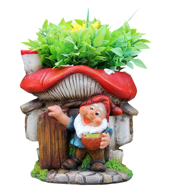 SINTECHNO SNF91185-2 Cute Gnome with Mushroom House Flower Pot Planter