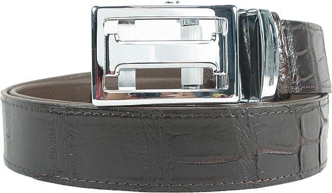 Genuine Crocodile Skin Leather Head Bump Belt Brown with Auto Buckle Free Ship