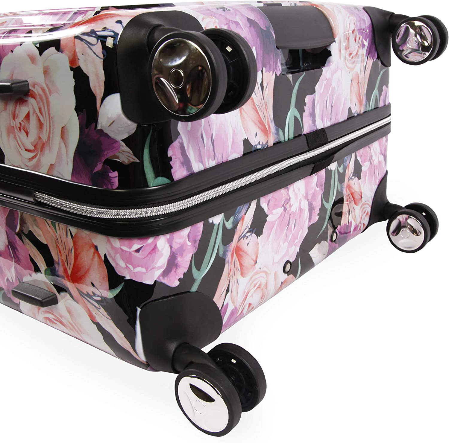 Black Floral Print BEBE Womens Luggage Marie 29 Hardside Check in Spinner