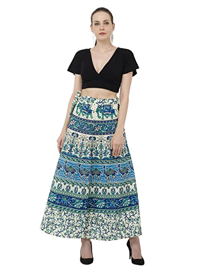 d3279170110a48 Image Unavailable. Image not available for. Color: SKAVIJ Women's Boho  Printed High Waist Beach Wrap Maxi Skirt ...