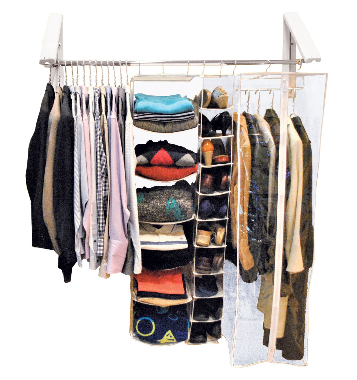 QuikCLOSET The Original Wardrobe Organizer, Collapsible Drying Rack, Mounted Clothes Holder