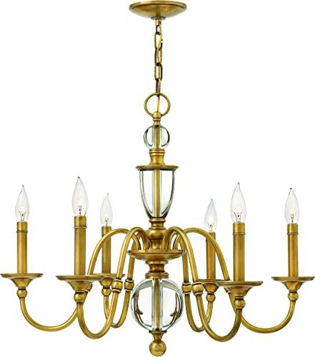 Hinkley 4956HB Traditional Six Light Chandelier from Eleanor collection in Brassfinish,