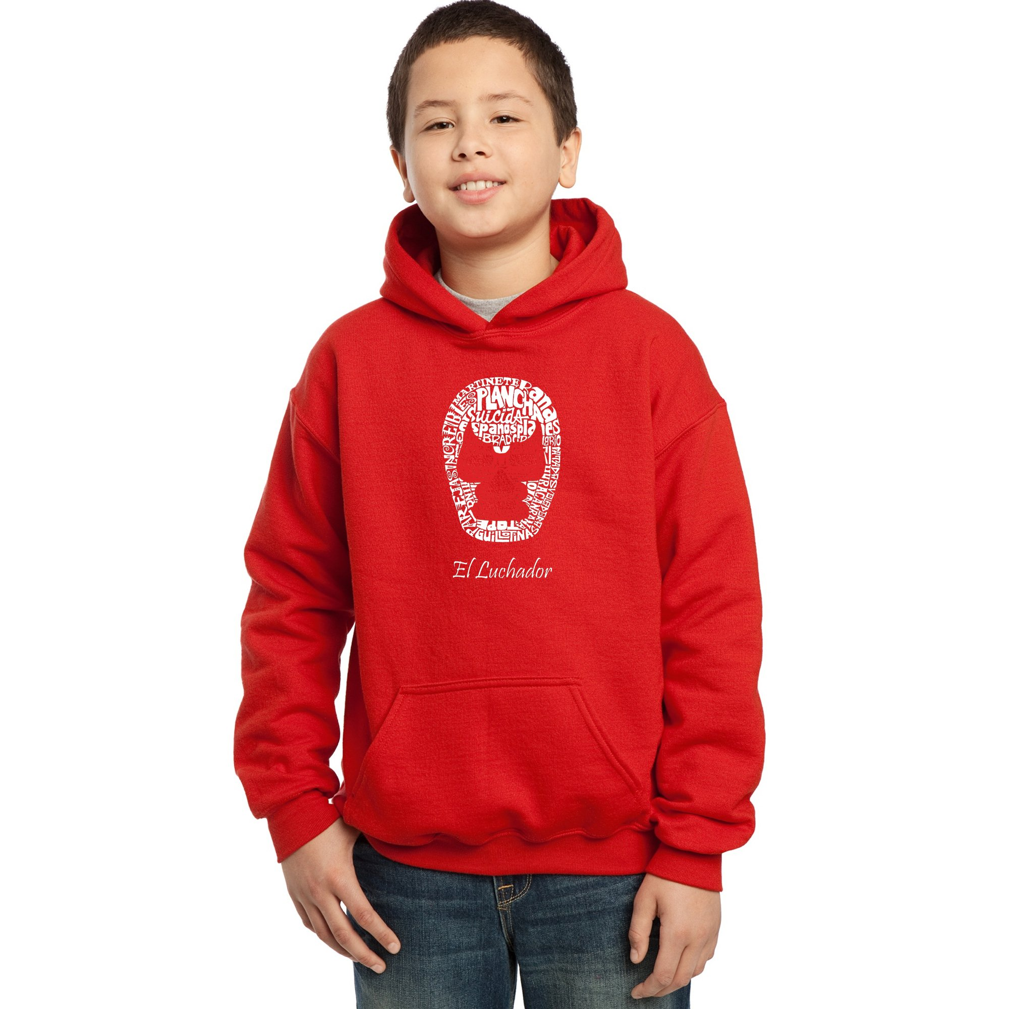 LA Pop Art Boy's Word Art Hooded Sweatshirt - Mexican Wrestling Mask by LA Pop Art
