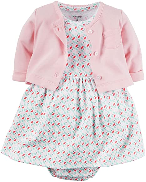 dd0db76d0d6b CARTER S - Baby Girl Set - Dress with Attached Bodysuit and Cardigan ...