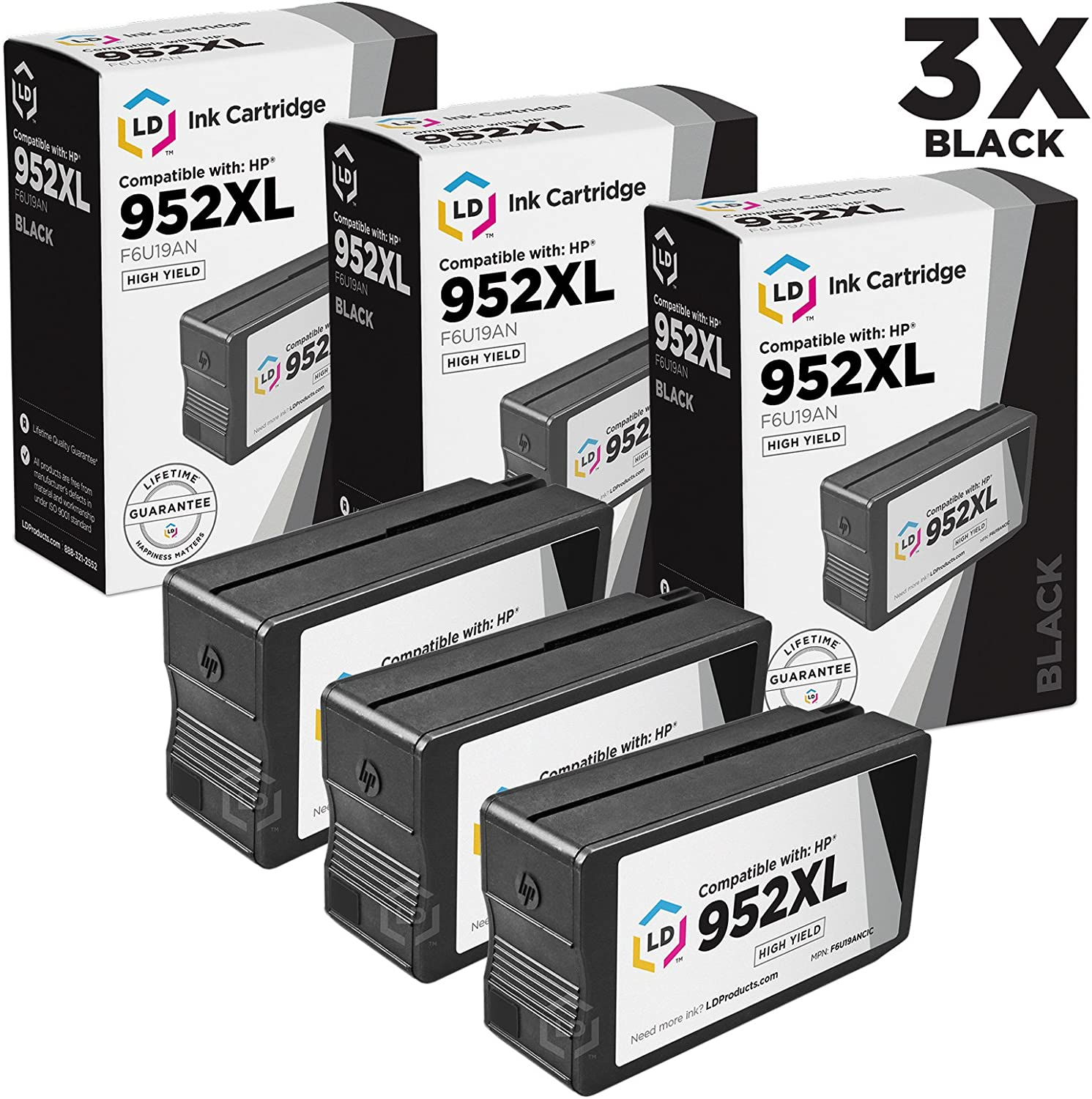 LD Compatible Ink Cartridge Replacements for HP 952XL F6U19AN High Yield (Black, 3-Pack)