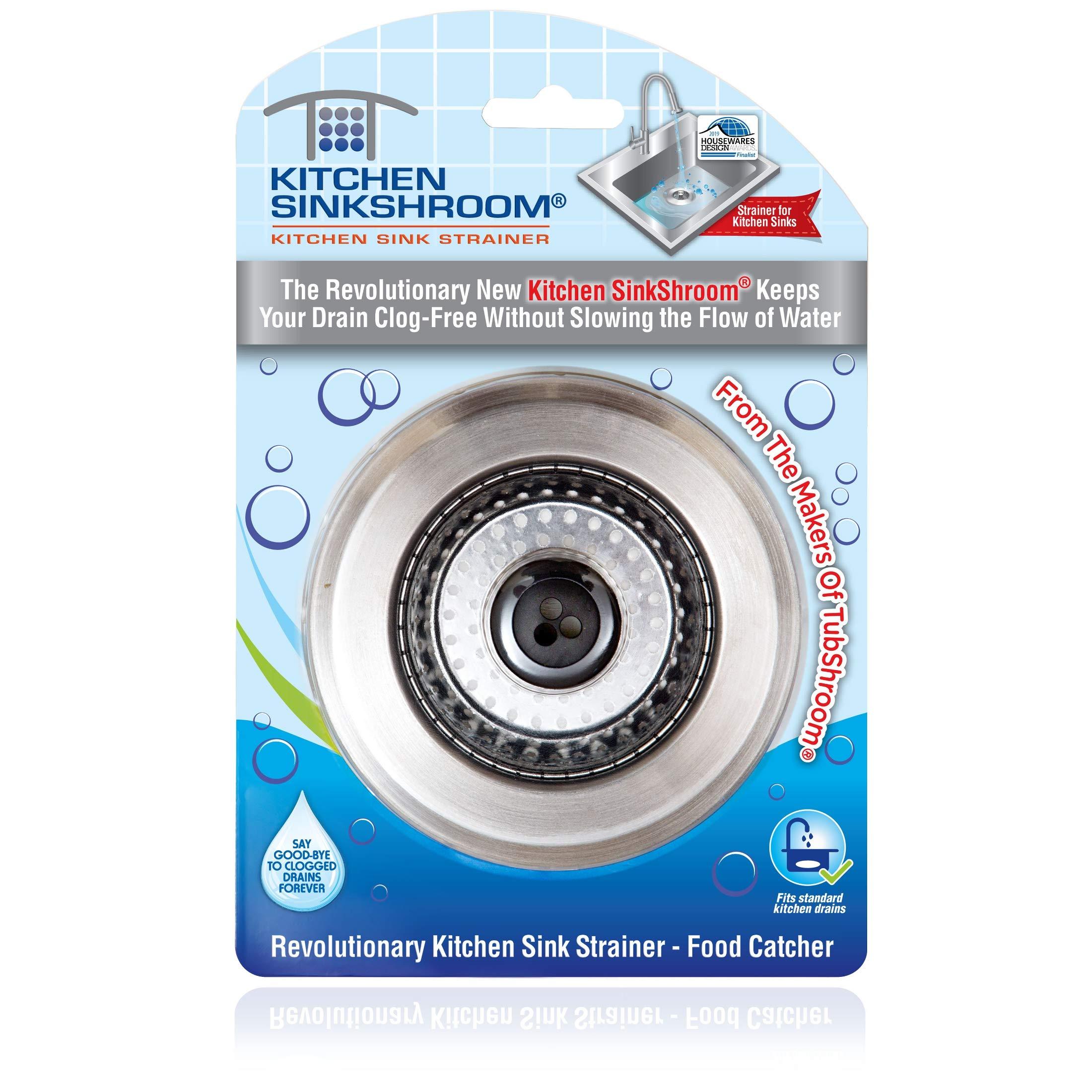 Kitchen SinkShroom Revolutionary Clog-Free Stainless Steel Sink Strainer, Black by SinkShroom