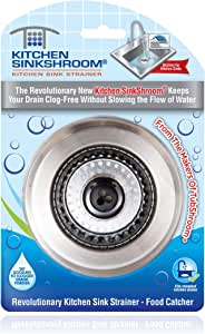 Kitchen SinkShroom Revolutionary Clog-Free Stainless Steel Sink Strainer, Black