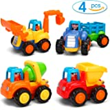 Kemuse Toddler Baby Toy Push And Go Friction Powered Car Toys Set for Children Boys Girls Kids Gift- Tractor, Bulldozer, Mixer Truck And Dumper(Set of 4)