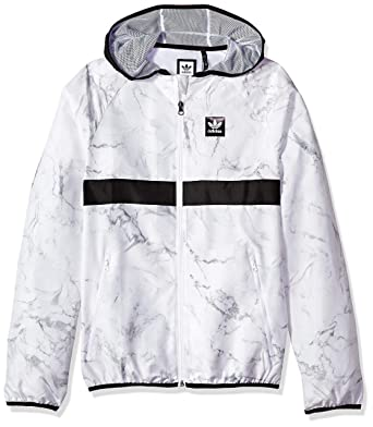 a2adec647 adidas Originals Men's Skateboarding Marble Blackbird Packable Jacket, White/Dark  Grey Heather/Black