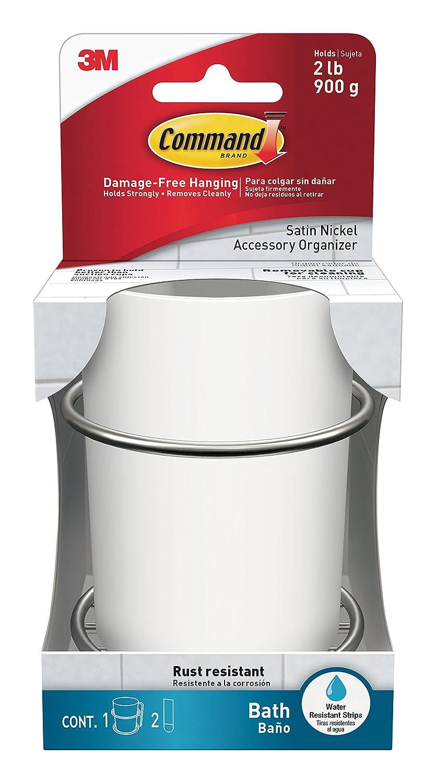 Command Bath Accessories Organiser, Satin Nickel/White, Damage-Free BATH38-SN-ES