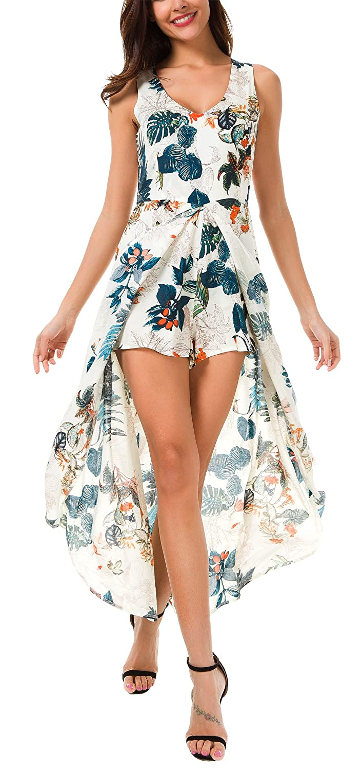 e6f82661fc6f KorMei Womens Sleeveless Scoop Neck Floral Rayon Party Split Maxi Romper  Dress at Amazon Women s Clothing store
