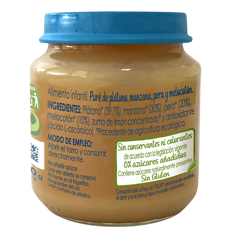 NESTLÉ NATURNES BIO - Puré de Manzana y Plátano - Puré Para bebés - Paquete de 6x120g (BIO)