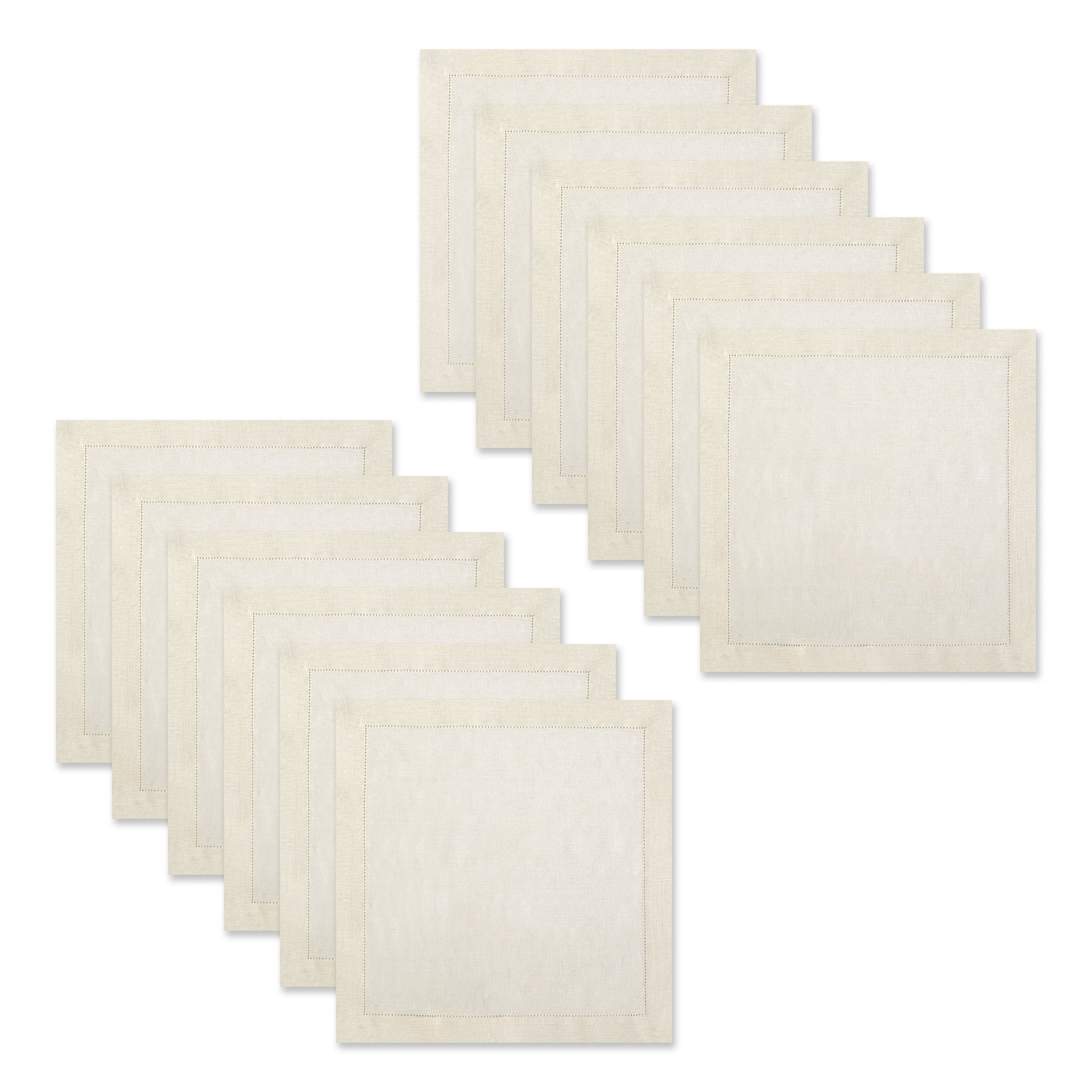 Pure Linen Oversized Napkins 12 Pack - Pure Linen Hemstitch Napkins - (Set of 12) Size 20x20 Ivory - Hand Crafted and Hand Stitched Napkins with Hemstitch detailing on Genuine Linen Fabric