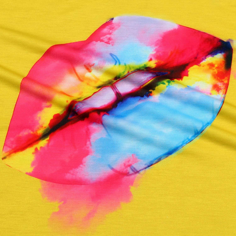 MAKARTHY - Camiseta de manga corta para mujer, diseño de labios - Amarillo - XX-Large: Amazon.es: Ropa y accesorios