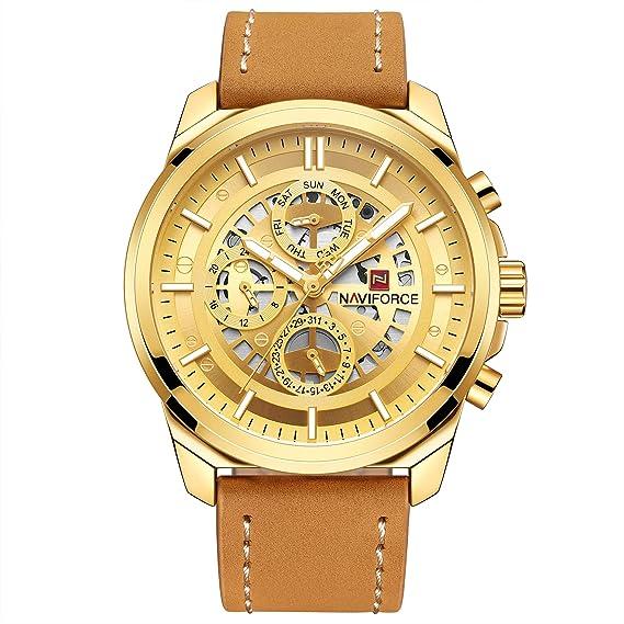 Naviforce - Reloj de Pulsera para Hombre, Correa de Piel clásica Vintage, diseño Minimalista