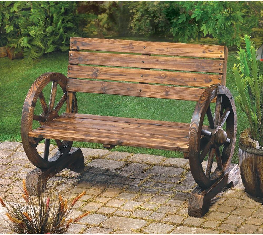 wakatobi Wagon Wheel Bench Rustic Wooden Outdoor Garden Patio Furniture Decor
