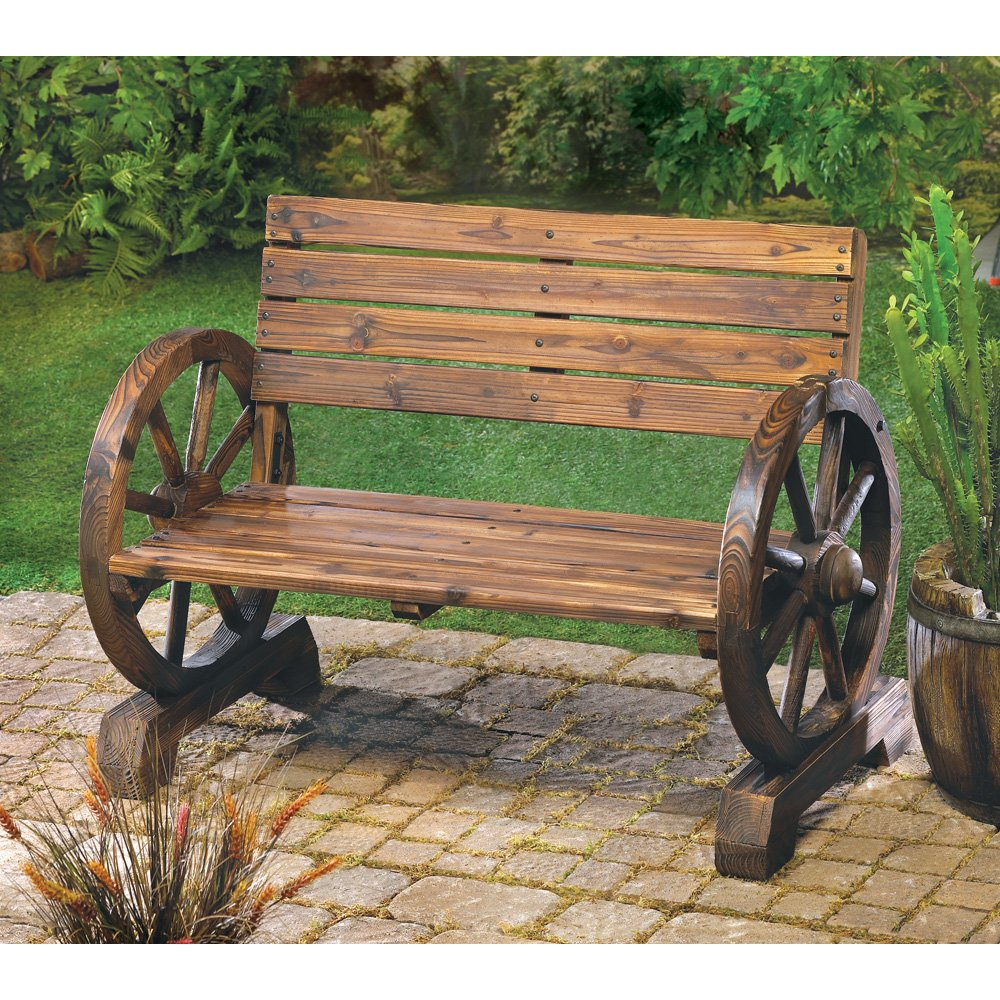Amazon Com Rustic Wood Design Home Garden Wagon Wheel Bench
