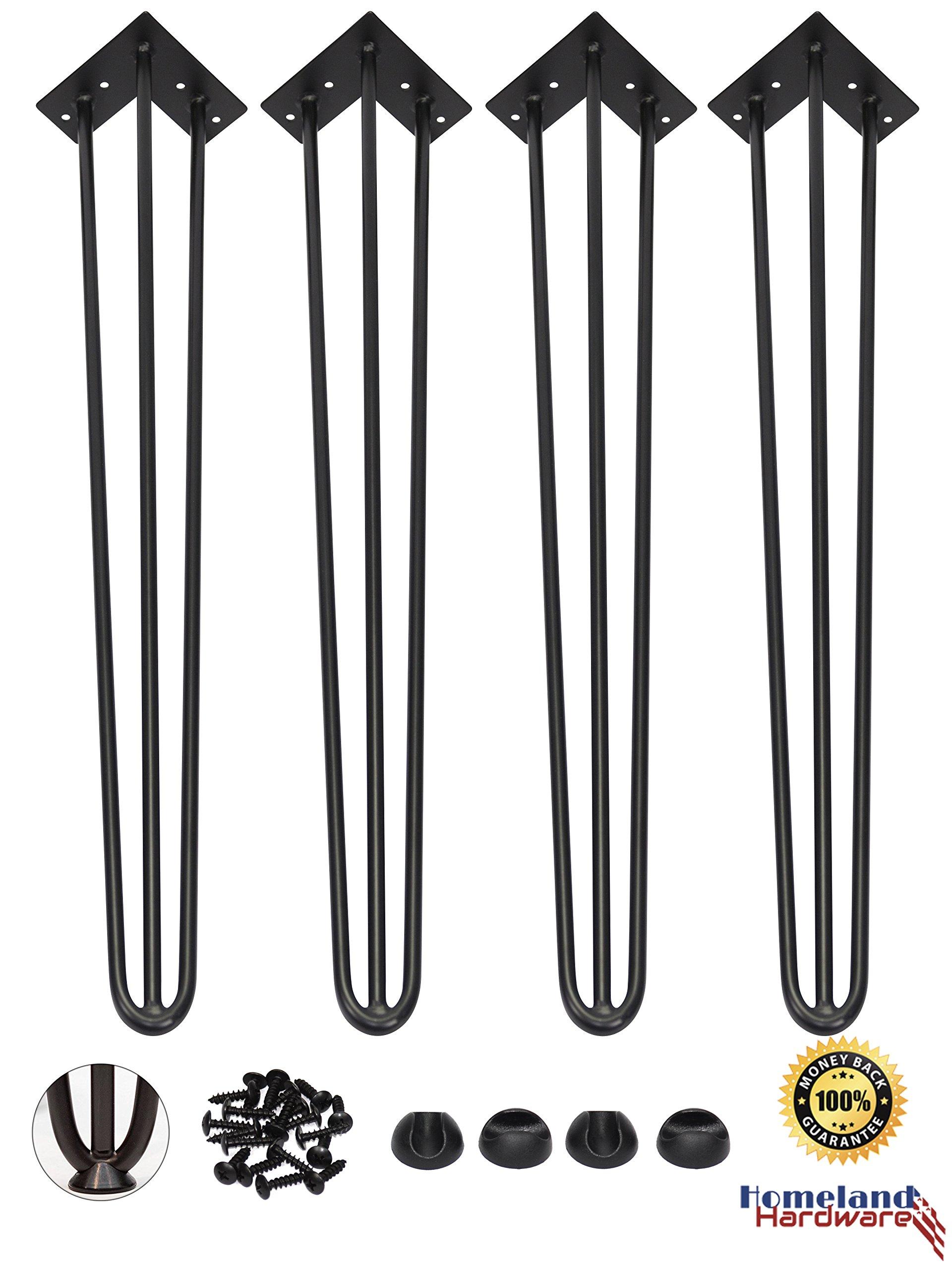 40'' Hairpin Legs 1/2'' [Black] Leg Protectors(4) + Screws(20) [Set of 4] - Metal Legs - Coffee Table Legs - Desk Legs - Furniture Legs - Mid Century Modern by Homeland Hardware