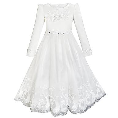 Sunny Fashion Vestido para niña Flor Encaje Dobladillo Manga Larga Boda Primera comunión 5-12 años: Amazon.es: Ropa y accesorios