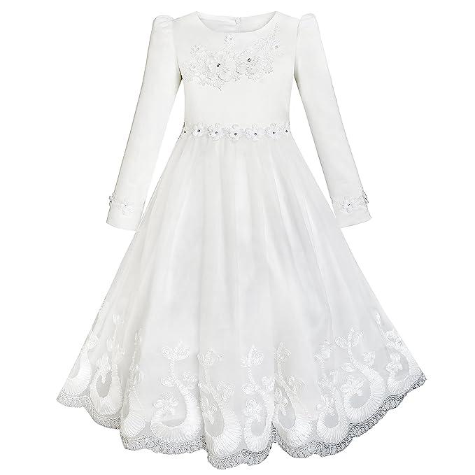 KH41 Sunny Fashion Vestido para niña Flor Encaje Dobladillo Largo Manga Boda primero Comunión 5 años
