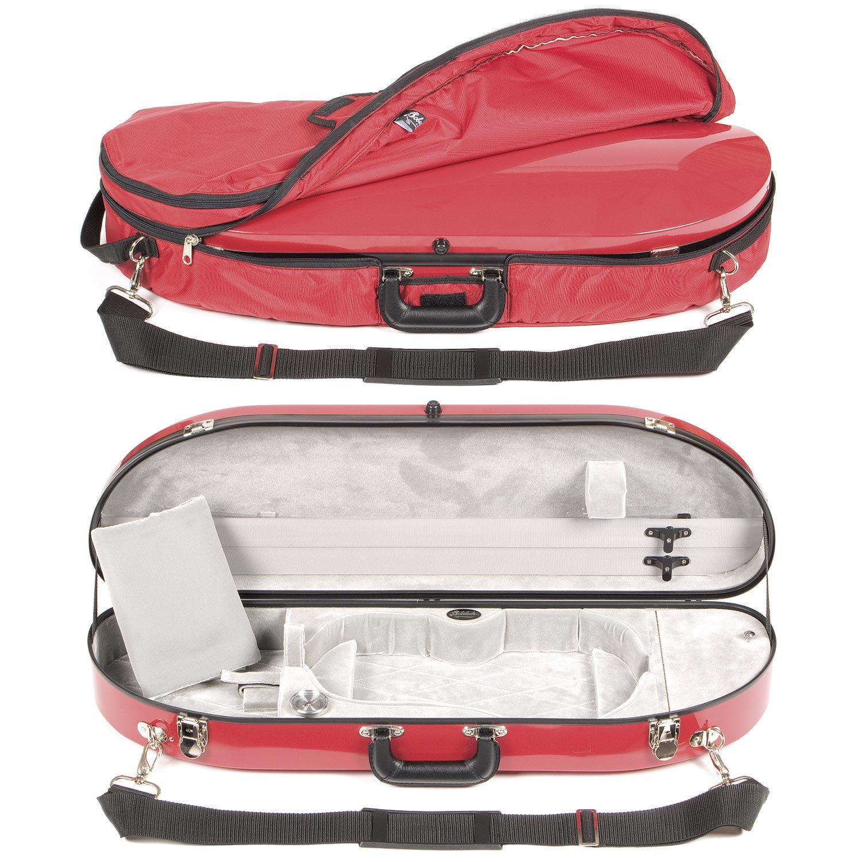 Bobelock 1047fv Red Fiberglass 4 4 Violin Case With Silver
