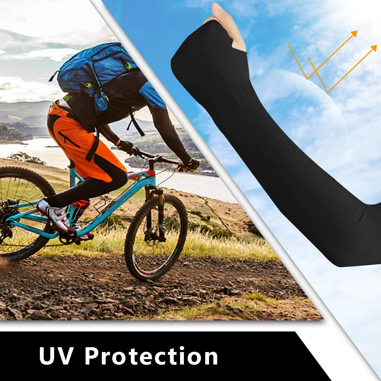 Mangas protectoras UV SPF 50 Sun Protection Arm Warmers for Men and Women for Running Baseball Golf Breathable AHUAINC Cycling Football and Other Outdoor Sports Volleyball