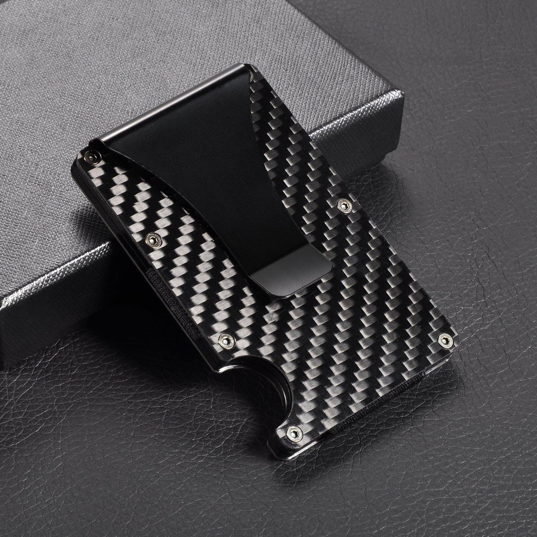 Aluminum Metal Wallet Front Pocket Minimalist Wallet & Money Clip Slim Wallet RFID Blocking (Carbon Fiber) by LOOKISS (Image #5)