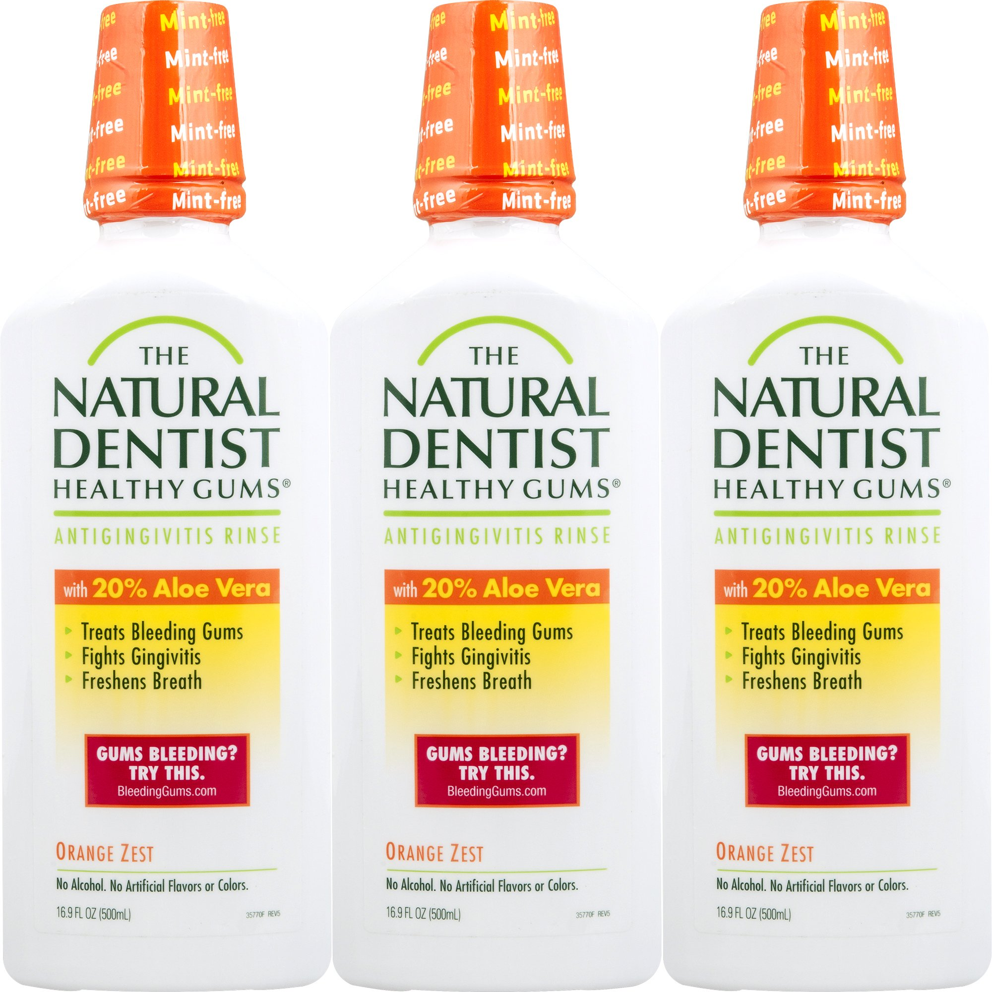 The Natural Dentist Healthy Gums Antigingivitis Mouthwash, Orange Zest, 16.9 Ounce Bottle (Pack of 3), Alcohol-Free Mouthwash for Daily Use, Treats Bleeding Gums and Fights Gingivitis, 20% Aloe Vera