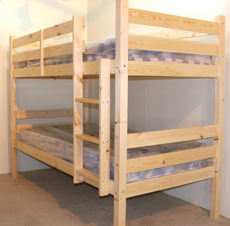 Adultos Bunkbed 3 ft cama individual madera de pino maciza litera – resistente – Extra gruesa escalera pasos – incluye base tira centro soporte raíles – incluye dos 20 cm de grosor