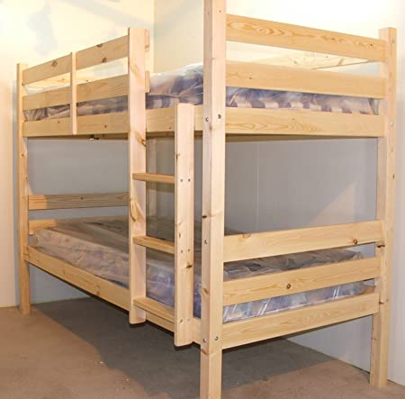 Heavy Duty Bunk Bed With Mattresses 3ft Single Solid Pine Bunk Bed