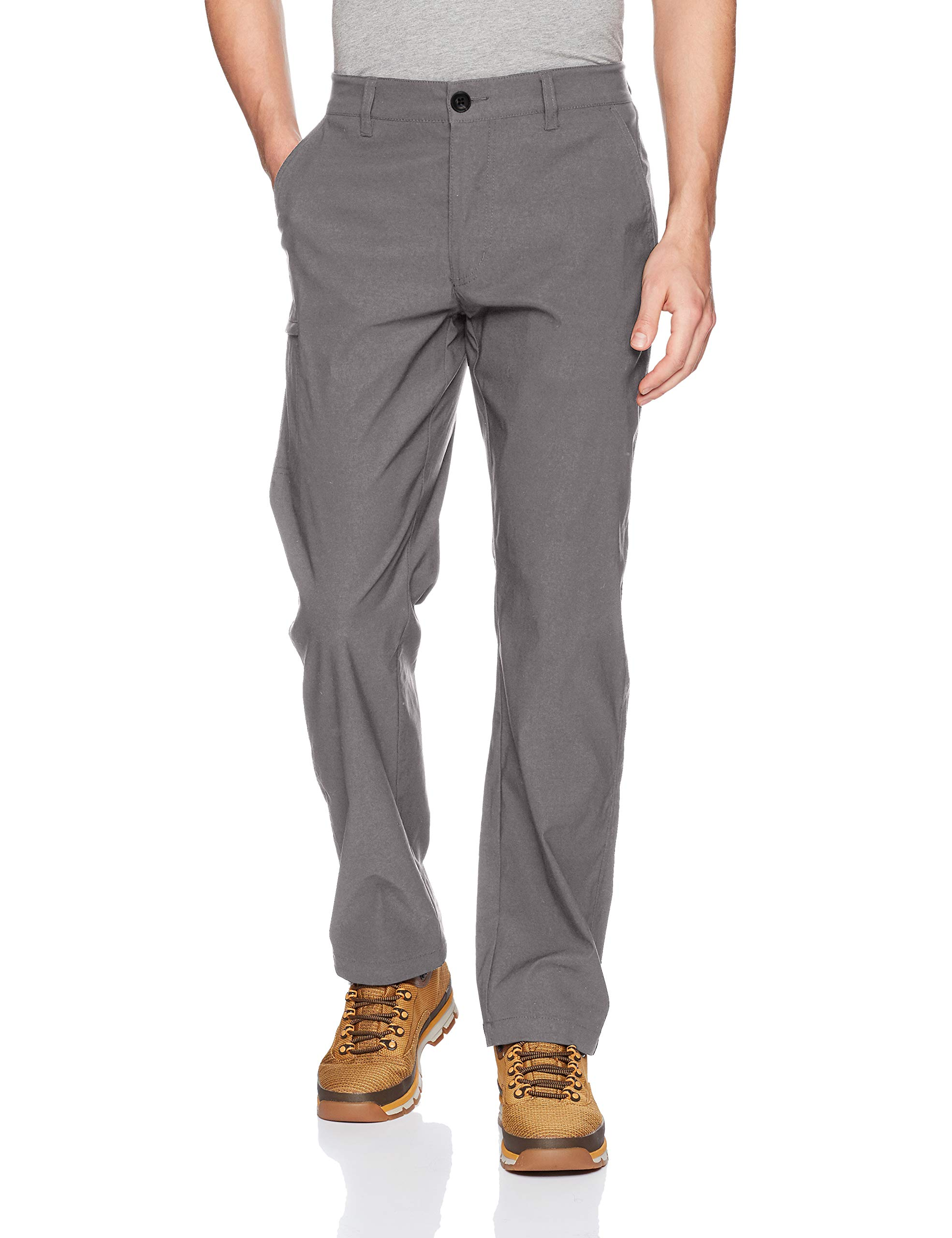 UNIONBAY Men's Rainier Lightweight Comfort Travel Tech Chino Pants, Charcoal, 34x32 by UNIONBAY